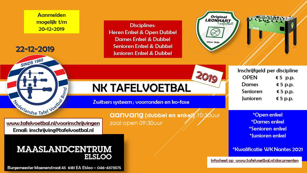 Nederlandse Kampioenschappen Tafelvoetbal 2019!