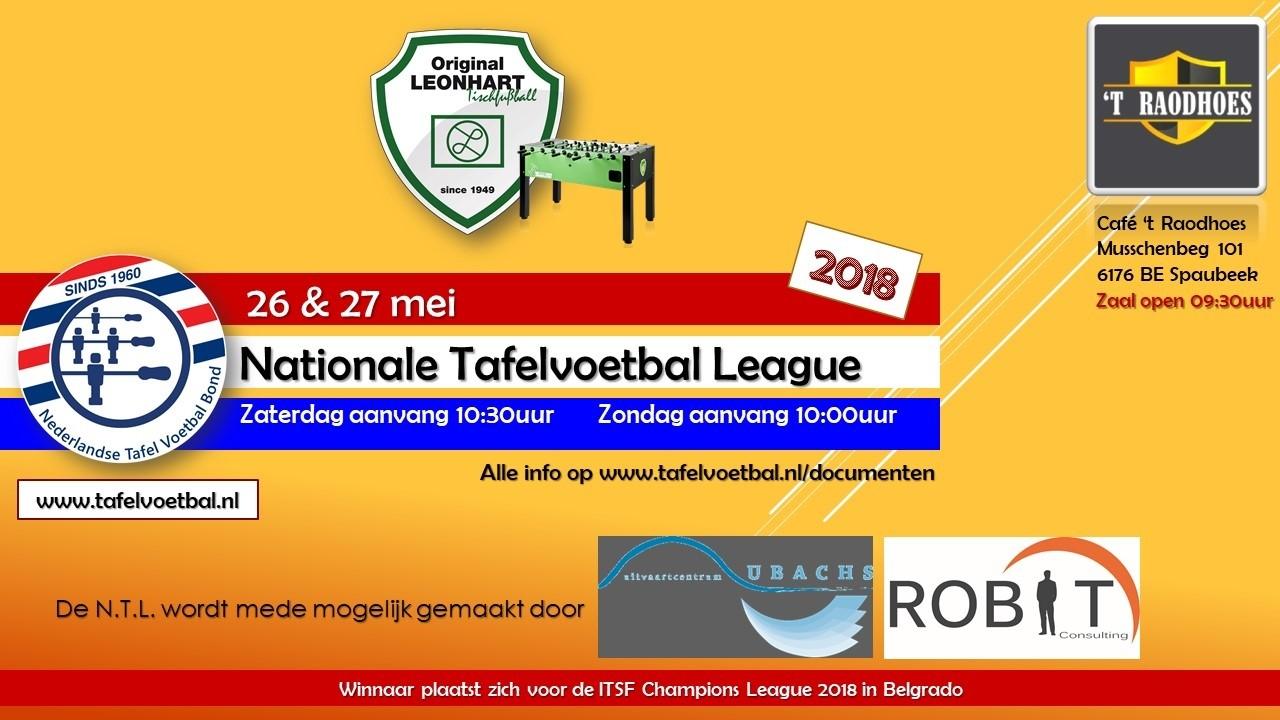 Update aangemelde teams voor de  Nationale Tafelvoetbal Competitie