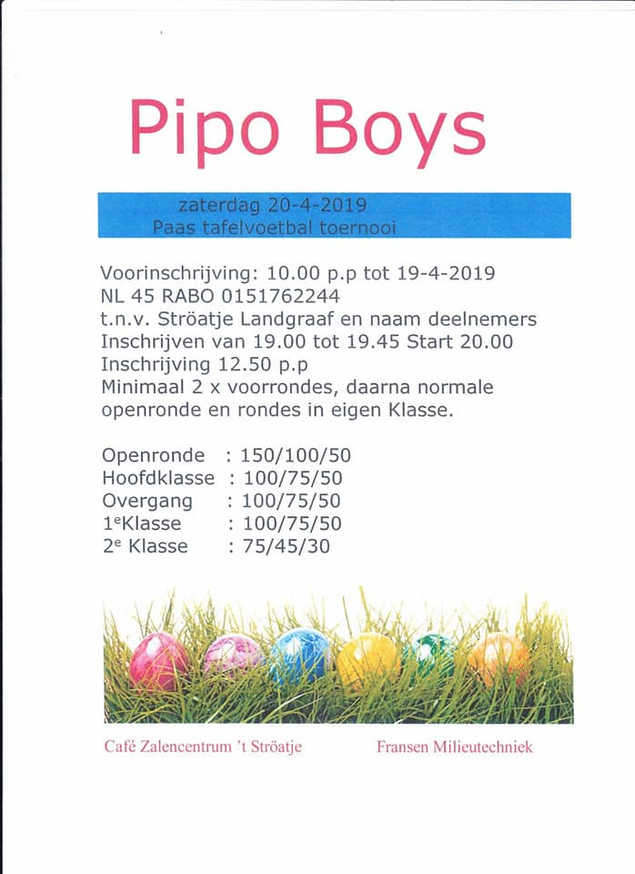 Paas tafelvoetbal toernooi Pipo Boys