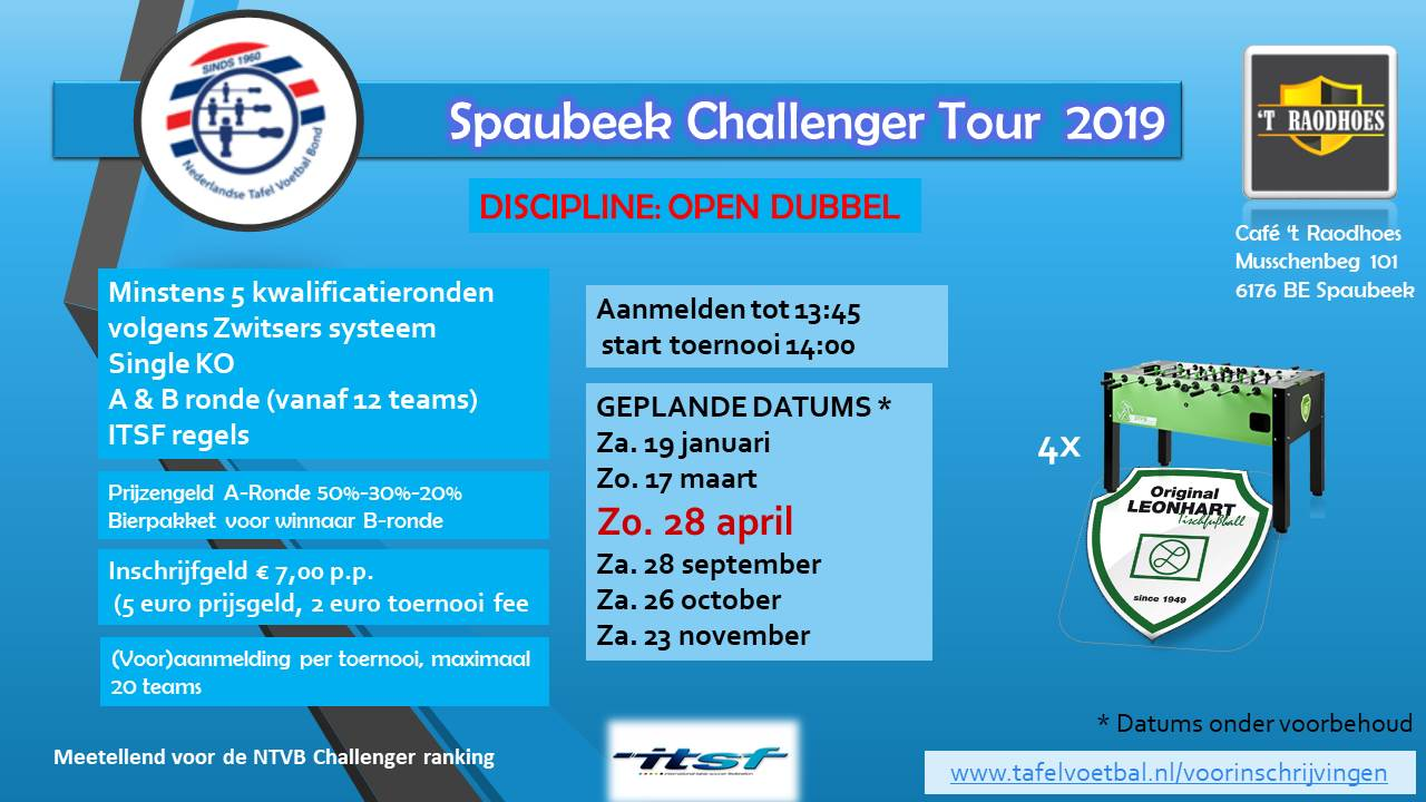 zondag 28 april : 3de spaubeekse Leonhart challenger!