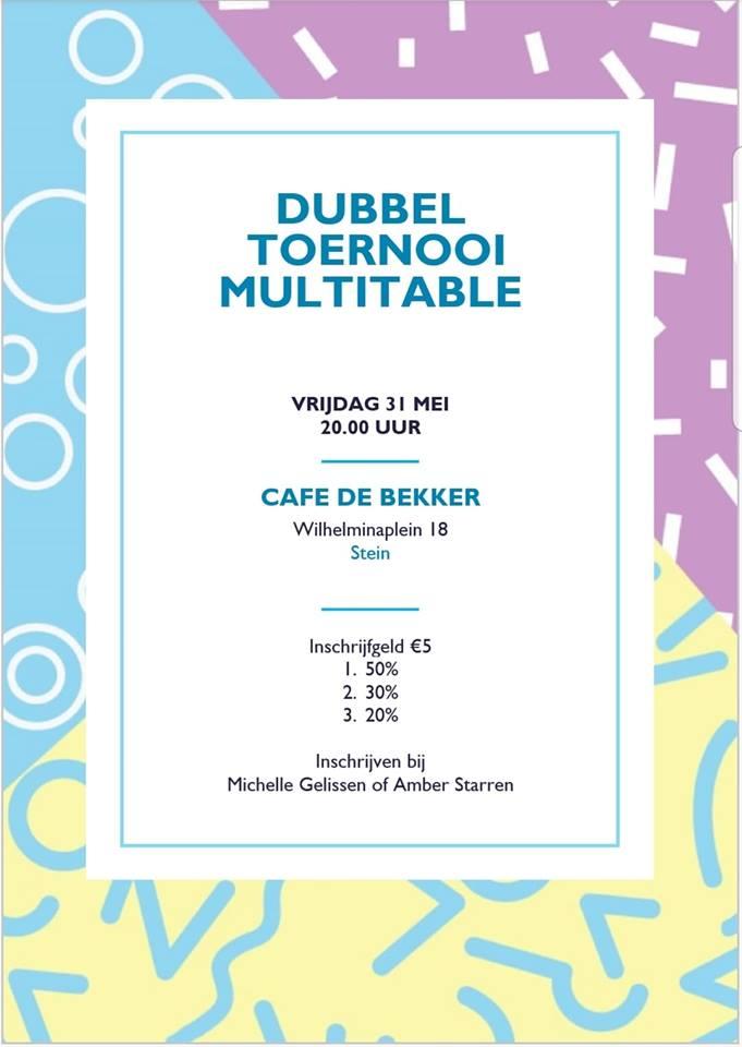 Herinnering: Multitable toernooi (31-05-2019)  Café de Bekker